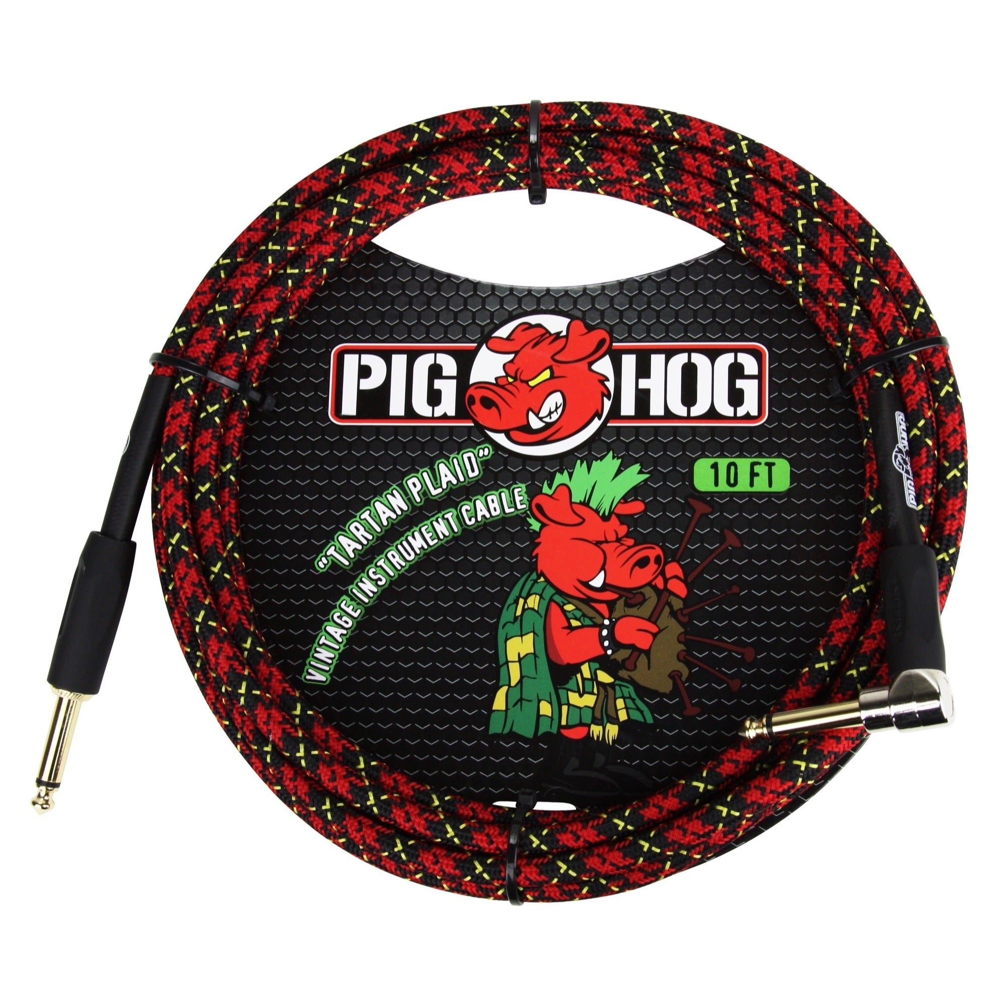 Pig Hog Color Instrument Cable, 1/4 Inch Straight to 1/4 Inch Right Angle, Tartan Plaid, 10 Foot