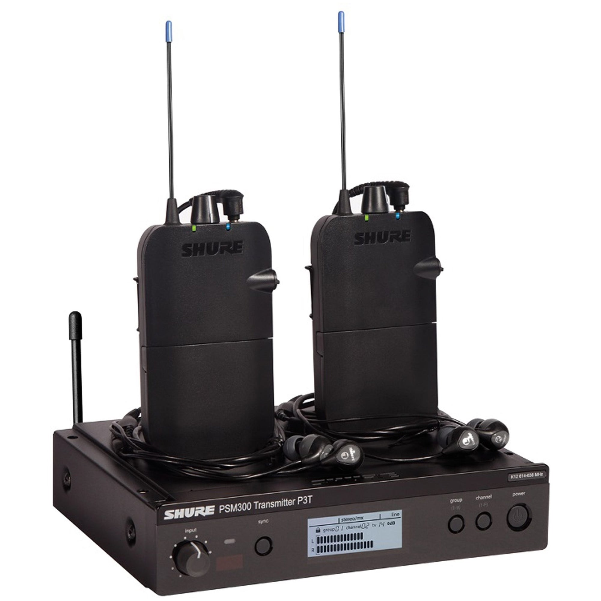 Shure PSM 300 Twin Pack IEM Wireless In-Ear Monitor System with SE112 Earphones, Band G20 (488.150 - 511.850 MHz)