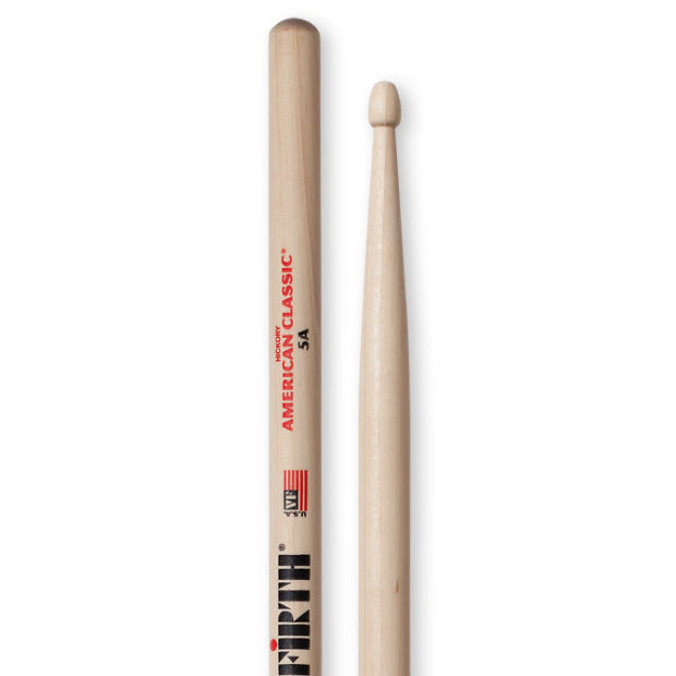 Vic Firth American Classic 5A Drumsticks, Natural, Wood Tip, Pair