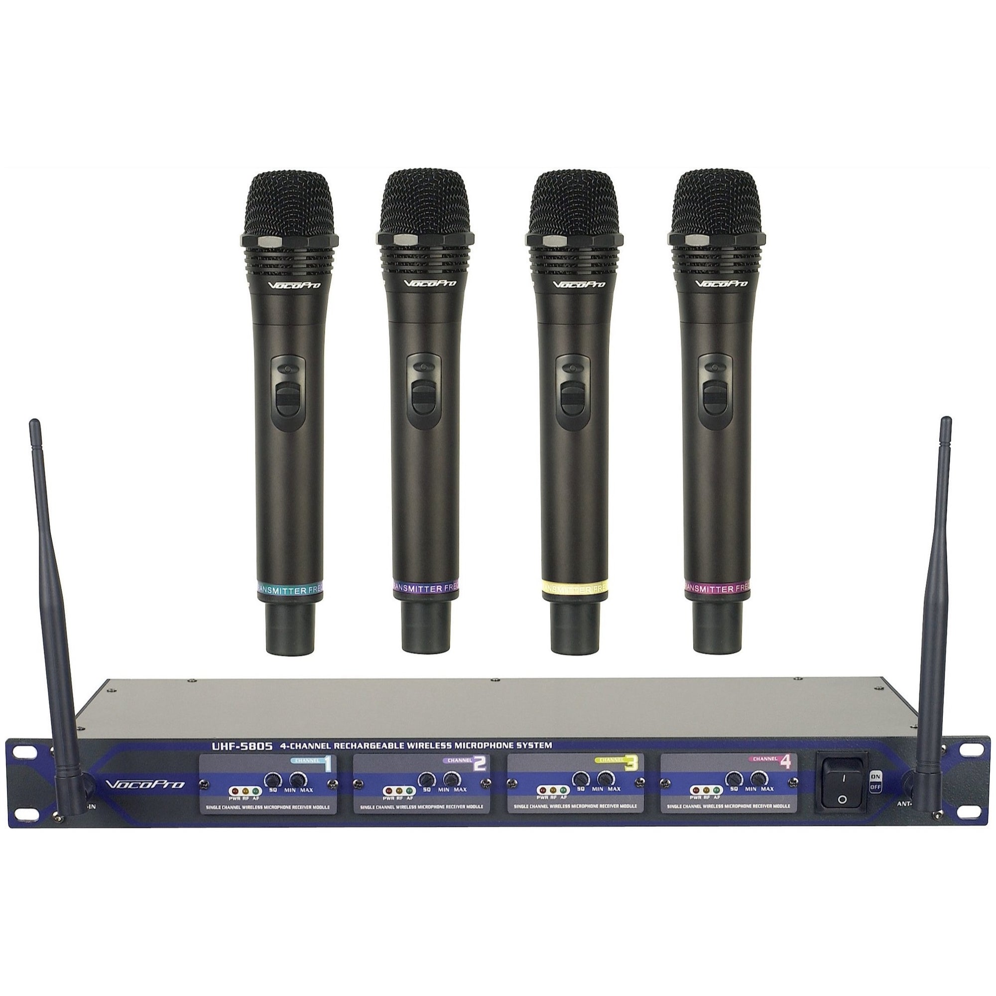 VocoPro UHF-5805 4-Channel Rechargeable Handheld Wireless Microphone System