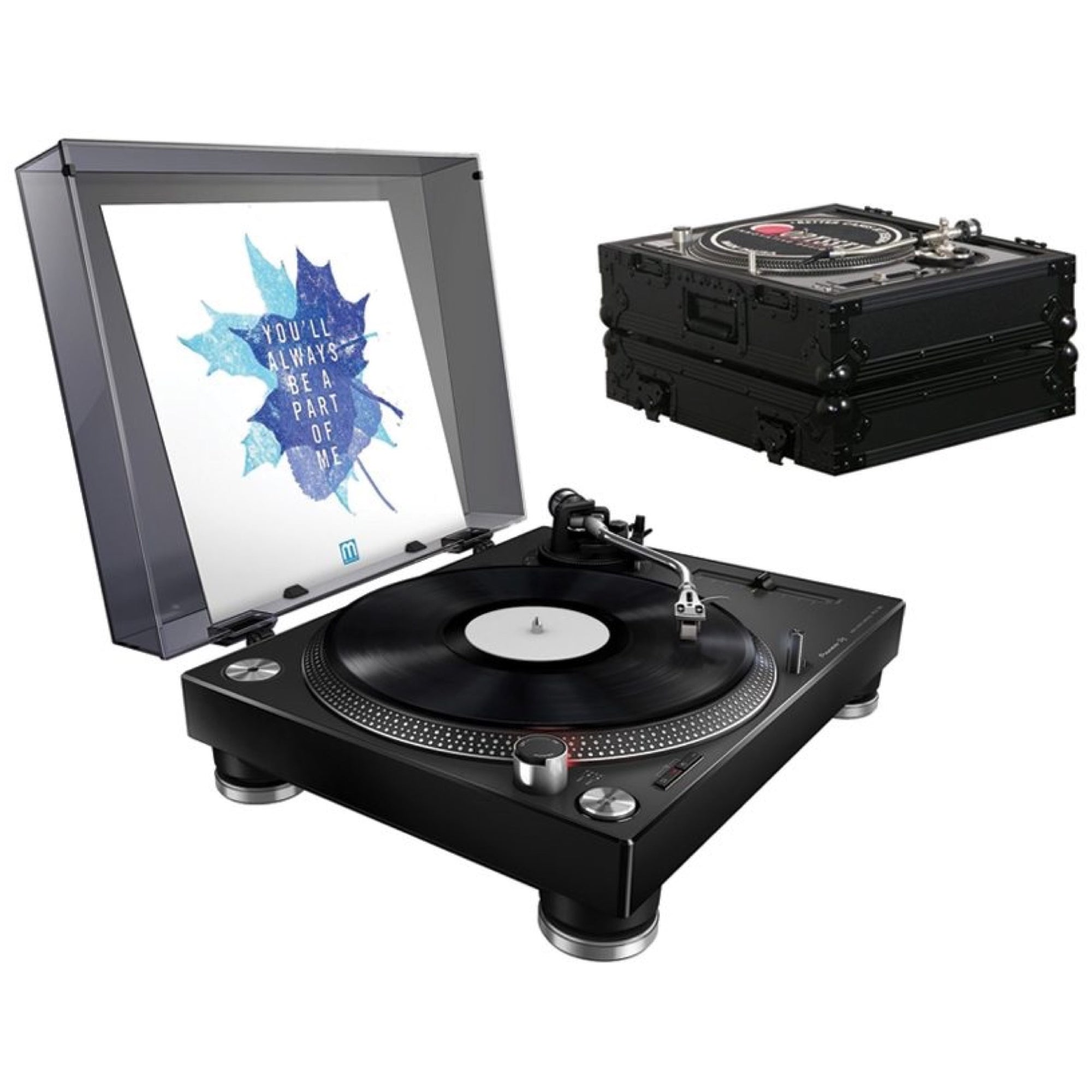 Pioneer PLX-500 Direct-Drive Turntable with USB, Black, with Odyssey FZ1200BL Case
