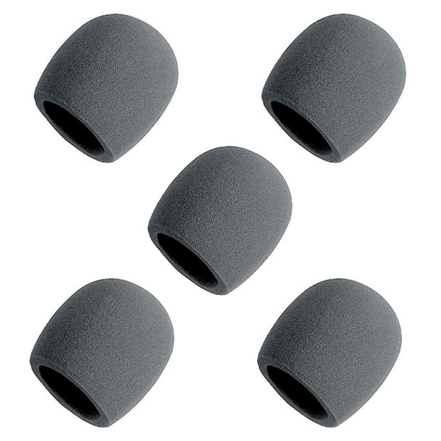 On-Stage Foam Ball-Type Microphone Windscreen, Black, 5-Pack