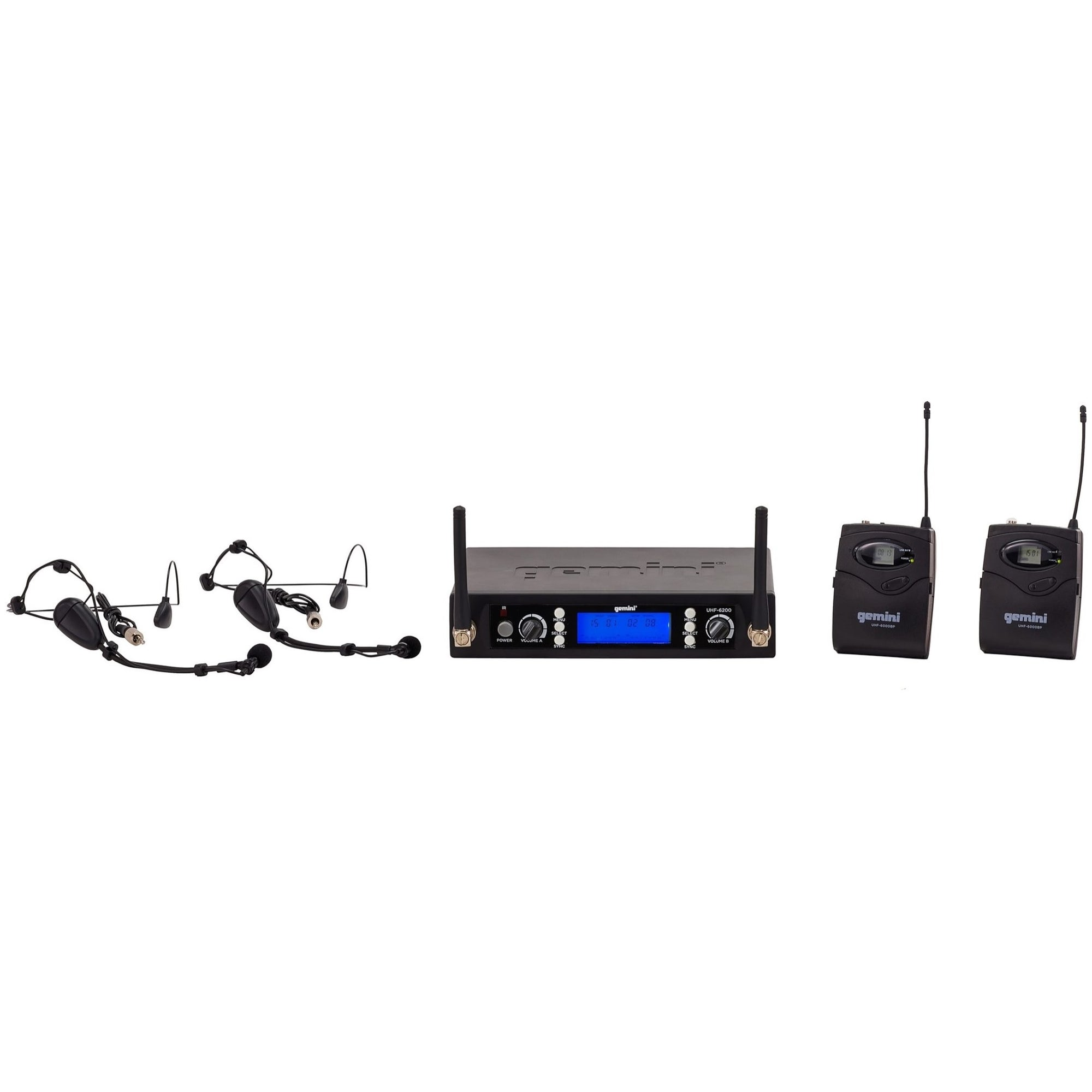 Gemini UHF 6200HL Dual Wireless Headset Microphone System