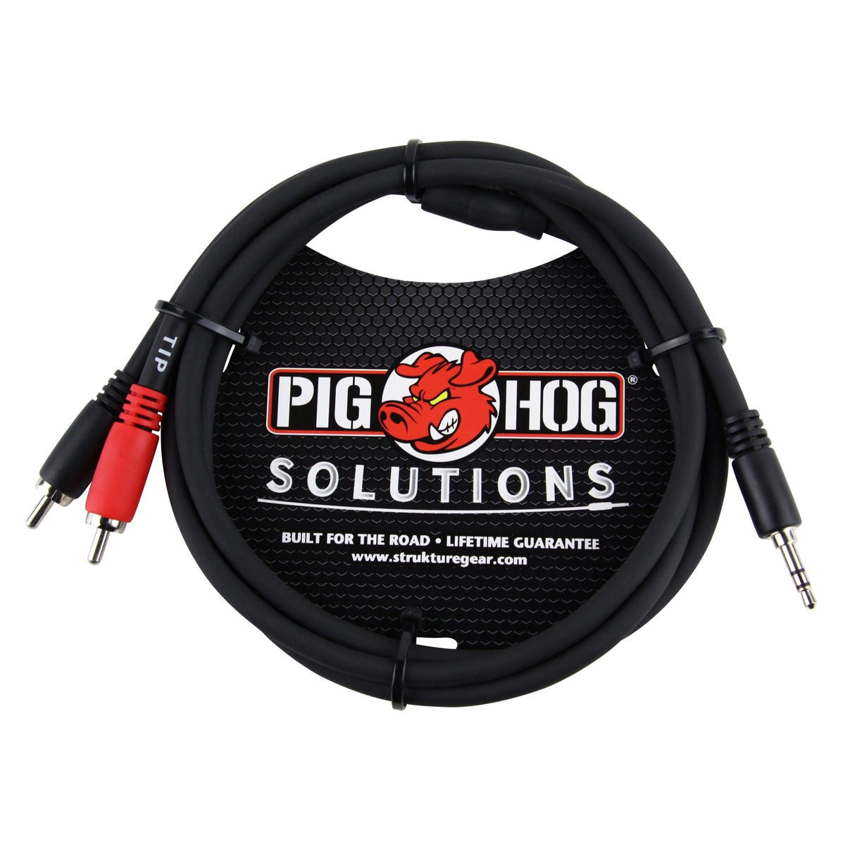 Pig Hog Solutions Stereo Breakout Cable, 3.5mm to Dual RCA, 6 Foot