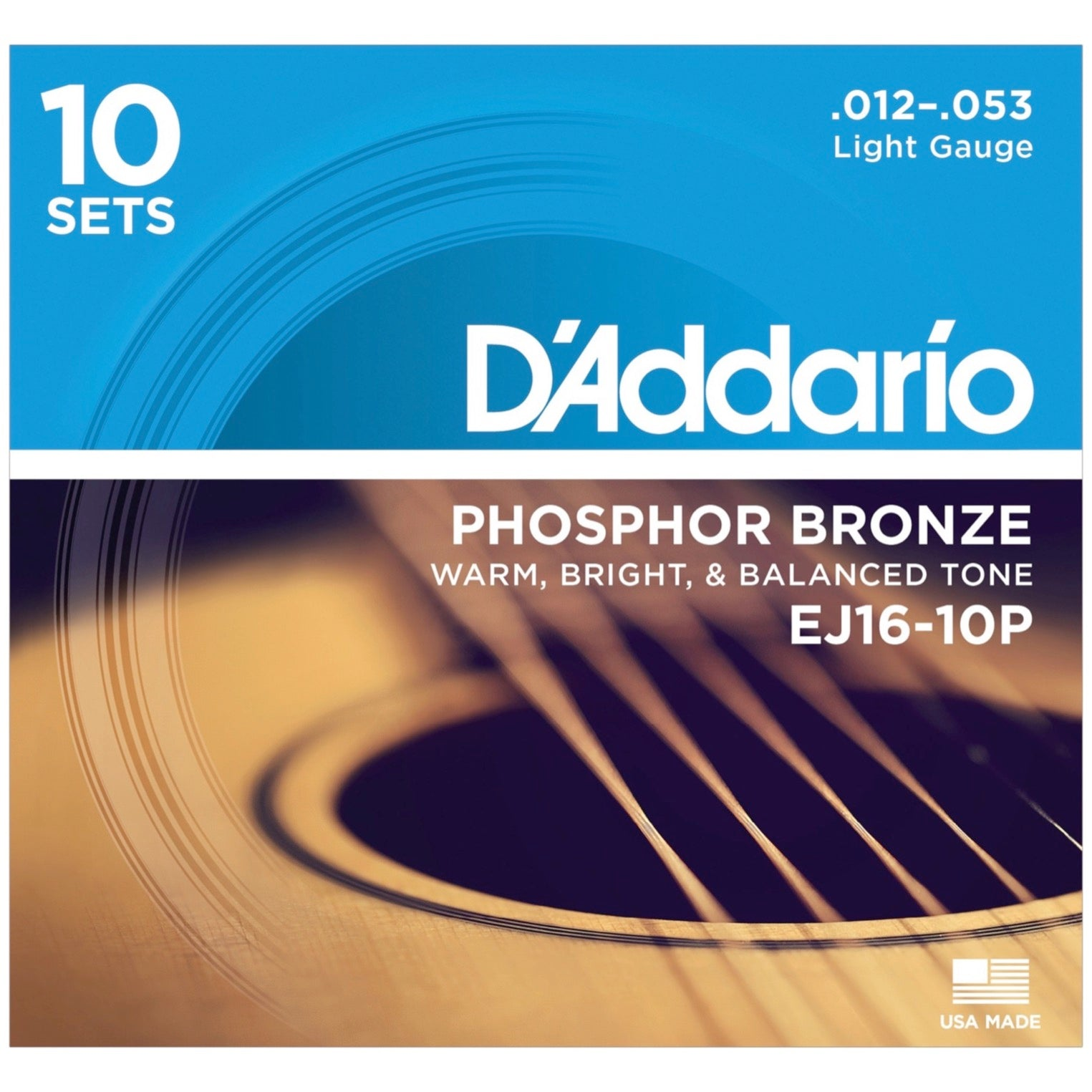 D'Addario EJ16 Phosphor Bronze Acoustic Guitar Strings (Light, 12-53), 10-Pack