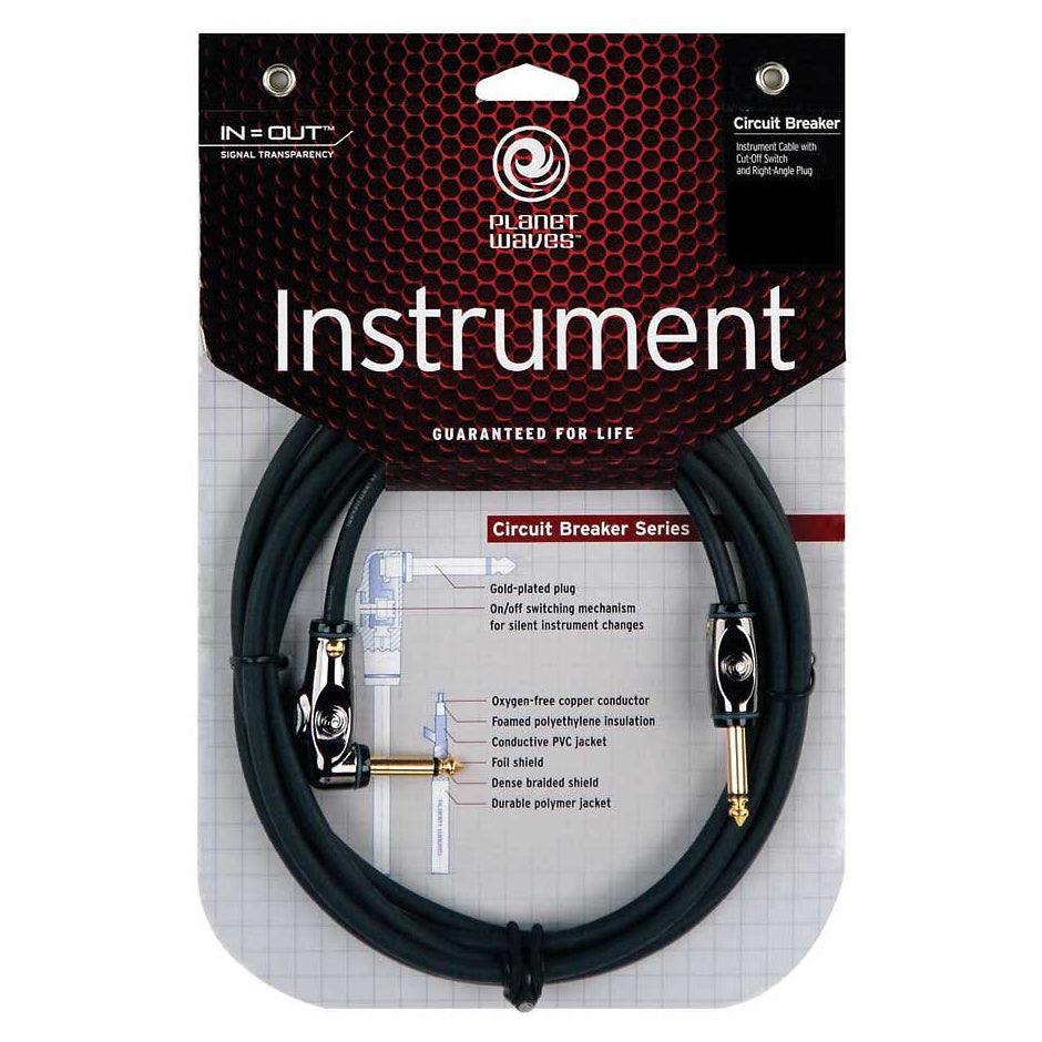 Planet Waves Circuit Breaker Instrument Cable with 1 Angled End, 10 Foot