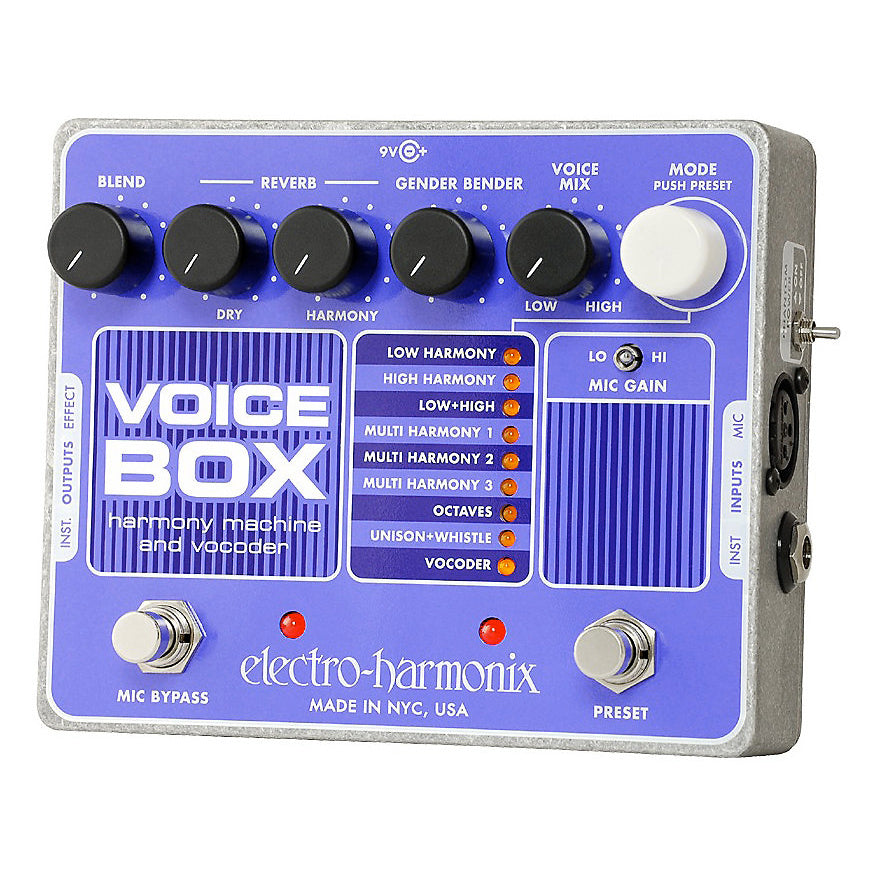 Electro-Harmonix Voice Box Vocal Harmony Machine and Vocoder Pedal, with Power Supply