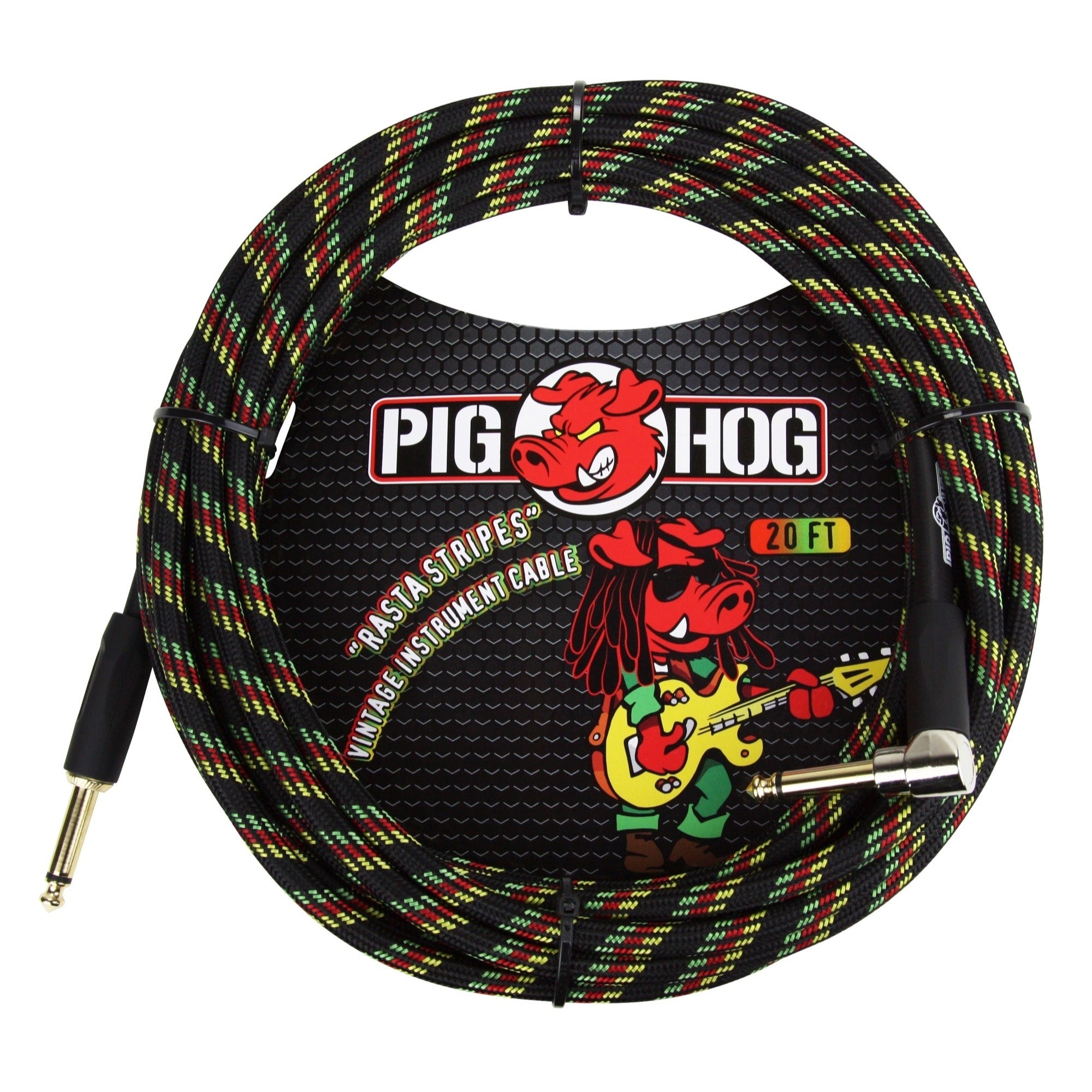 Pig Hog Color Instrument Cable, 1/4 Inch Straight to 1/4 Inch Right Angle, Rasta Stripe, 20'