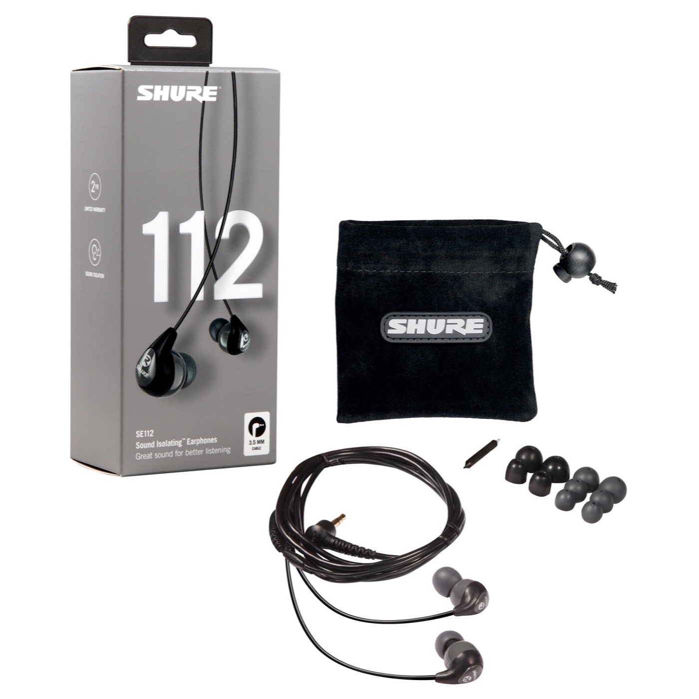 Shure SE112 Sound Isolating Earphones, Gray