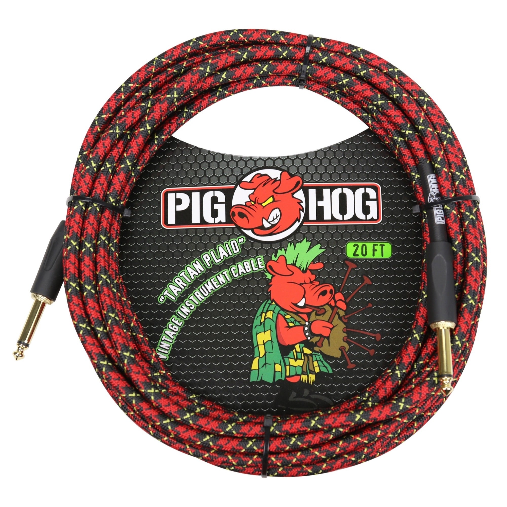 Pig Hog Vintage Series Instrument Cable, 1/4 Inch Straight to 1/4 Inch Straight, Tartan Plaid, 20'