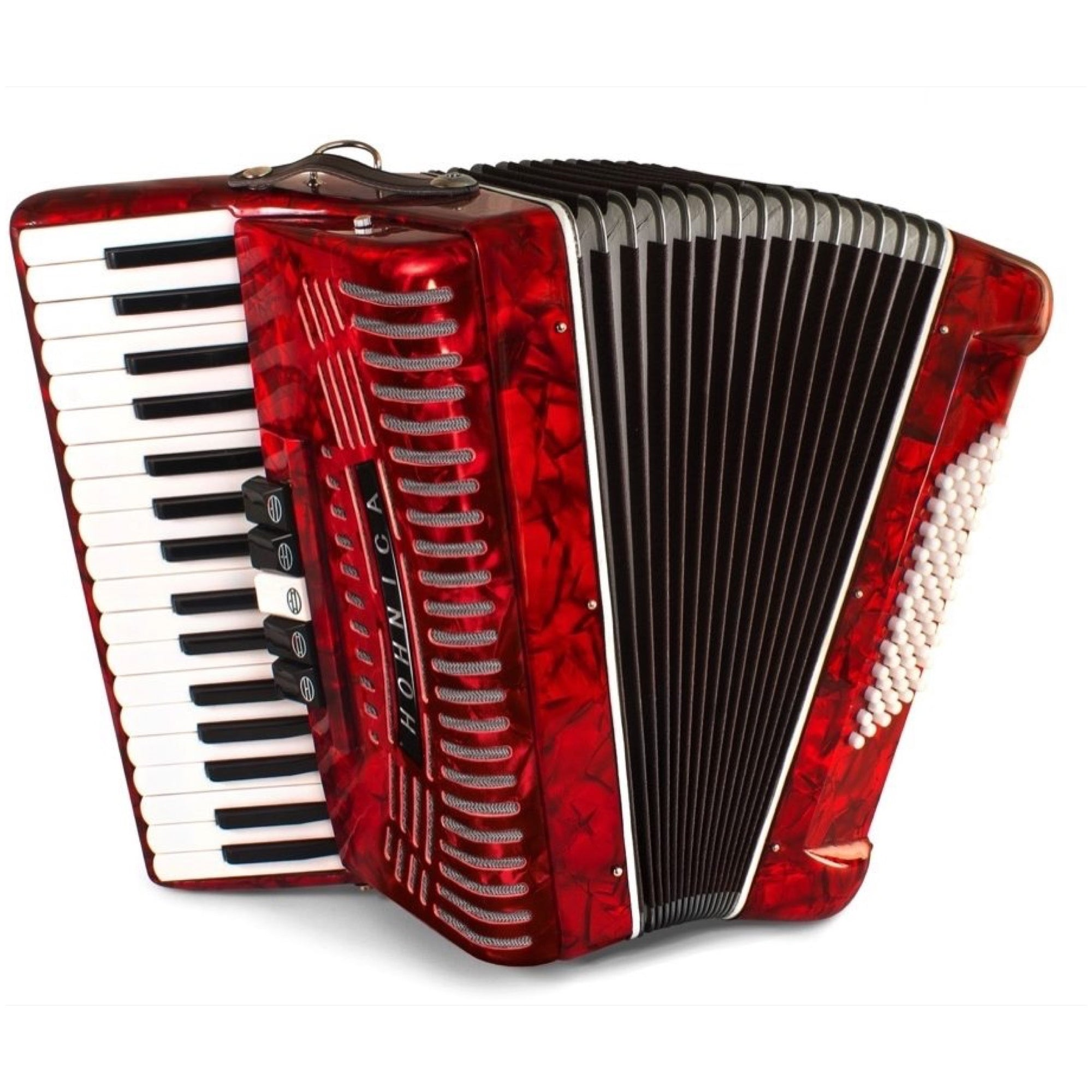 Hohner 1305-RED 72 Bass Piano Accordion, Pearl Red