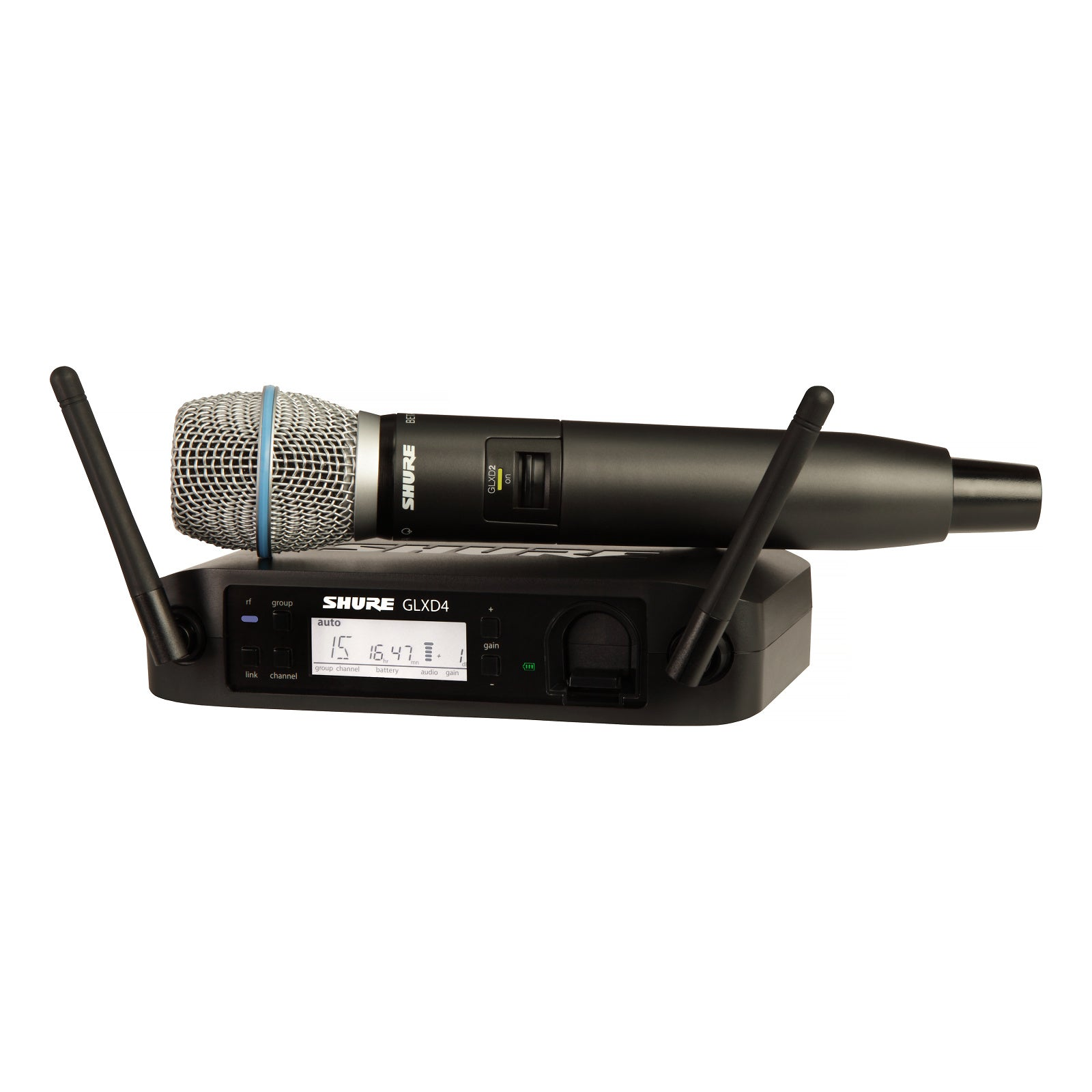Shure GLXD24/B87A Digital Handheld Wireless Beta87A Microphone System, Band Z2 (2.4 GHz)