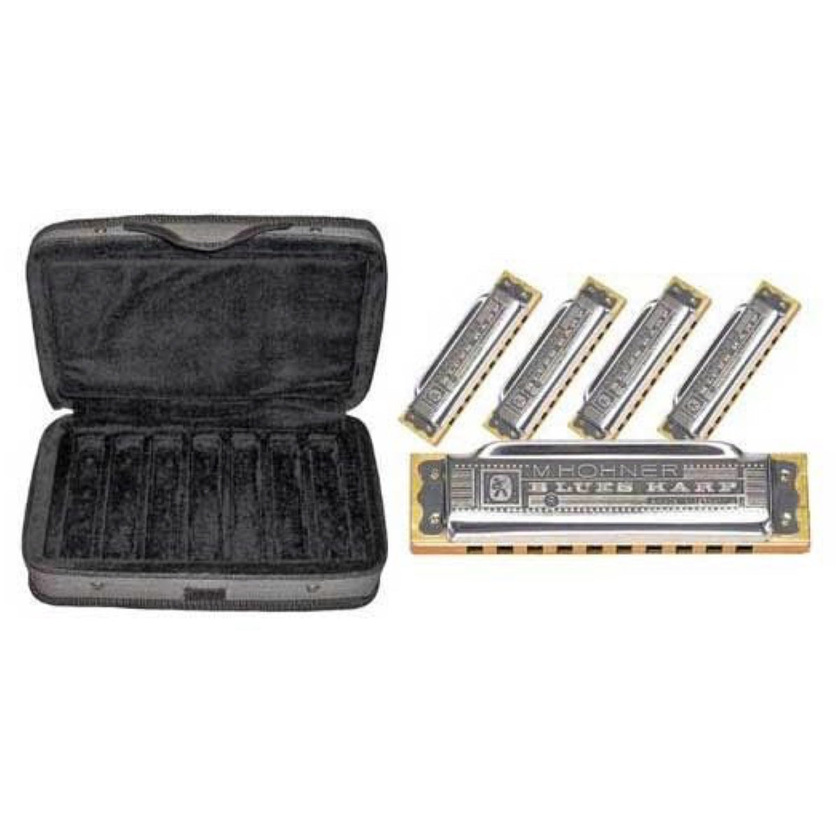 Hohner Case Of Blues Harmonicas, 5-Pack, with Case