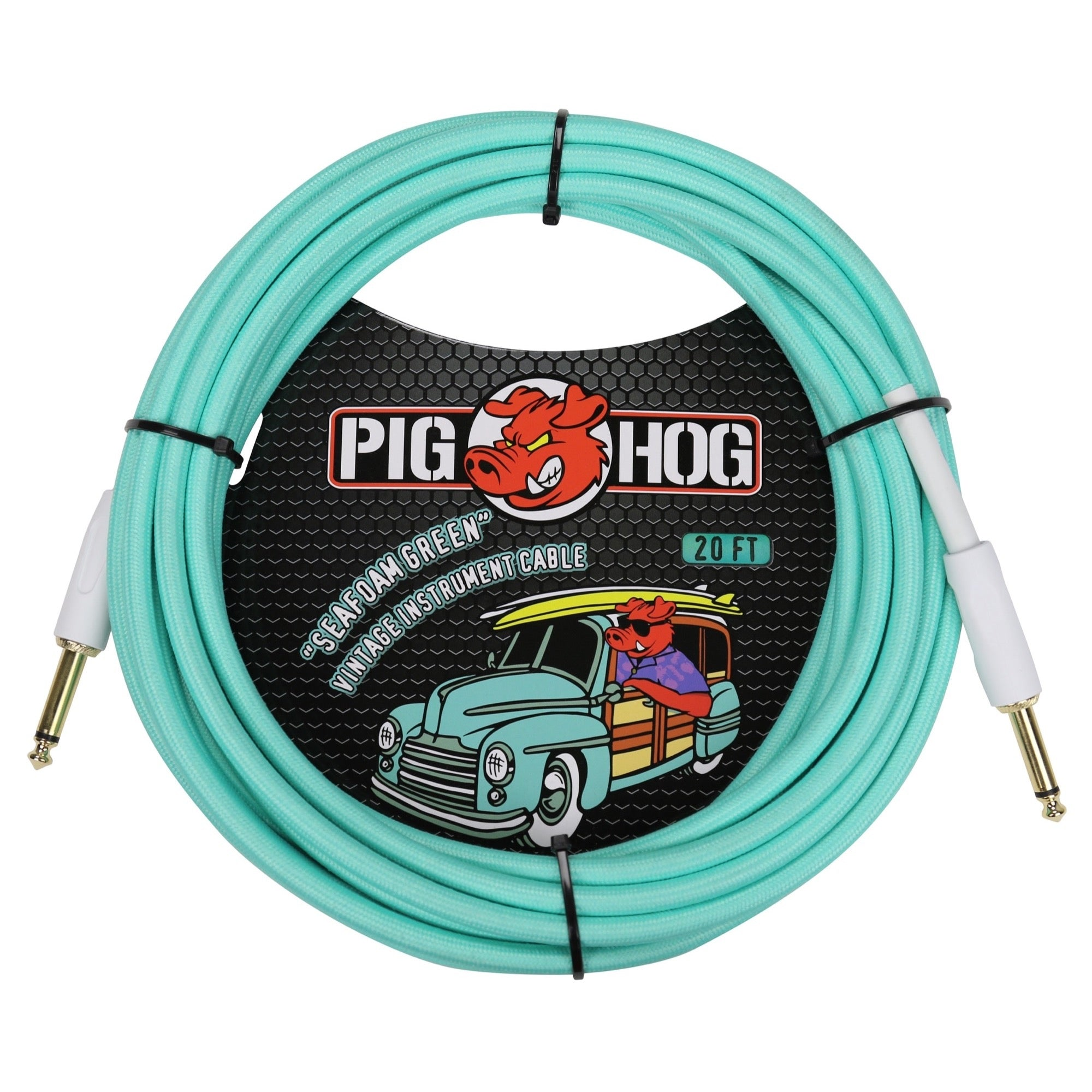 Pig Hog Vintage Series Instrument Cable, 1/4 Inch Straight to 1/4 Inch Straight, Seafoam Green, 20'
