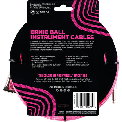 Ernie Ball Braided Instrument Cable, Neon Pink, 18'