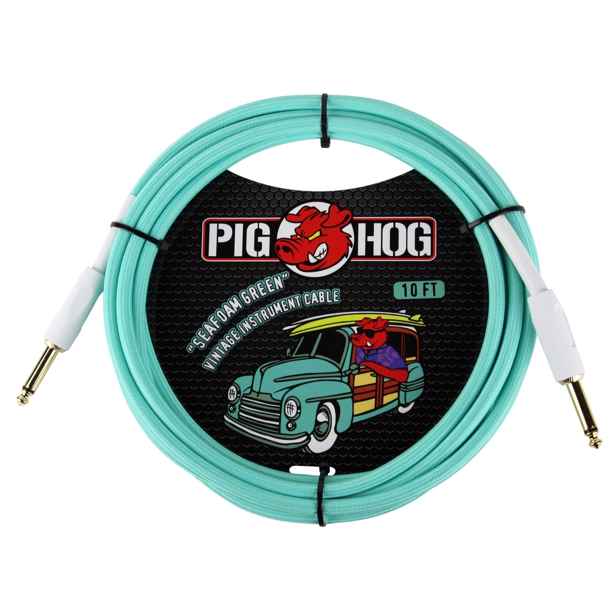 Pig Hog Vintage Series Instrument Cable, 1/4 Inch Straight to 1/4 Inch Straight, Seafoam Green, 10 Foot