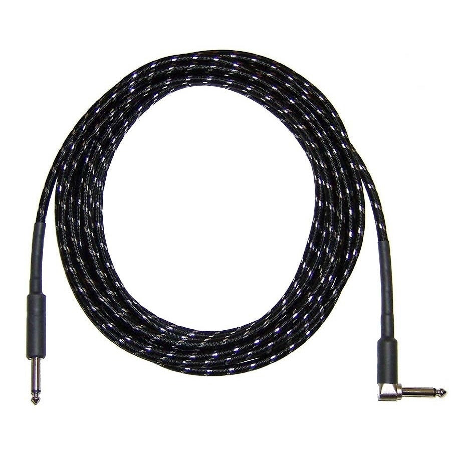 CBI Braided Instrument Cable with Right Angle Plug (Black), 6 Foot
