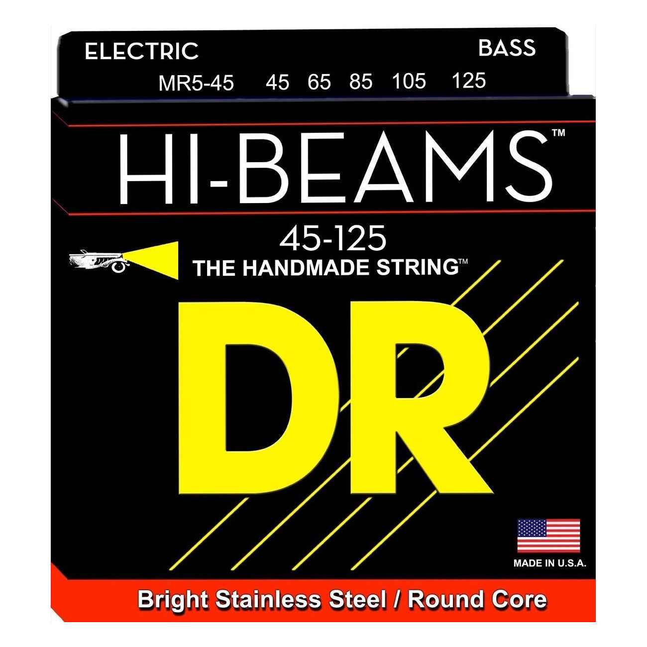 DR Strings MR545 Hi-Beams 5-String Electric Bass Strings (Medium, 45-125), MR-545, Medium, 45-125