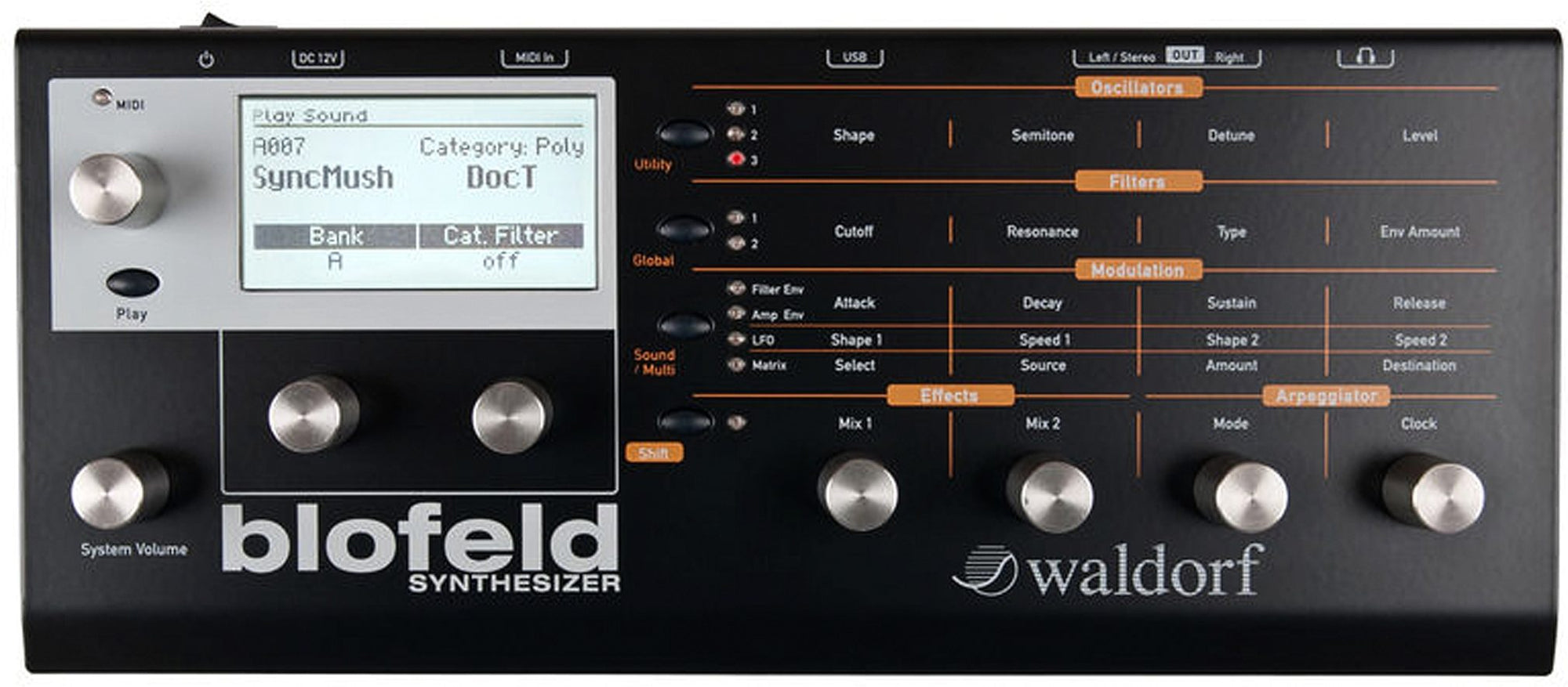 Waldorf Blofeld Desktop Synthesizer, Black