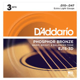 Load image into Gallery viewer, D'Addario EJ15 Phosphor Bronze Acoustic Guitar Strings (Extra Light), Extra Light, 3-Pack, 17441