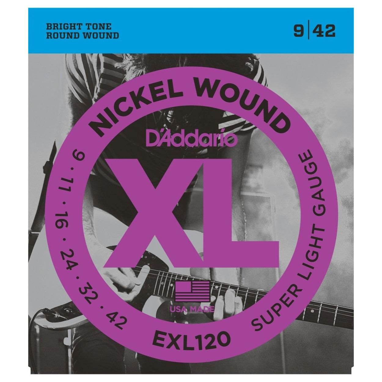 D'Addario EXL120 XL Electric Guitar Strings (Super Light, 9-42), 10-Pack