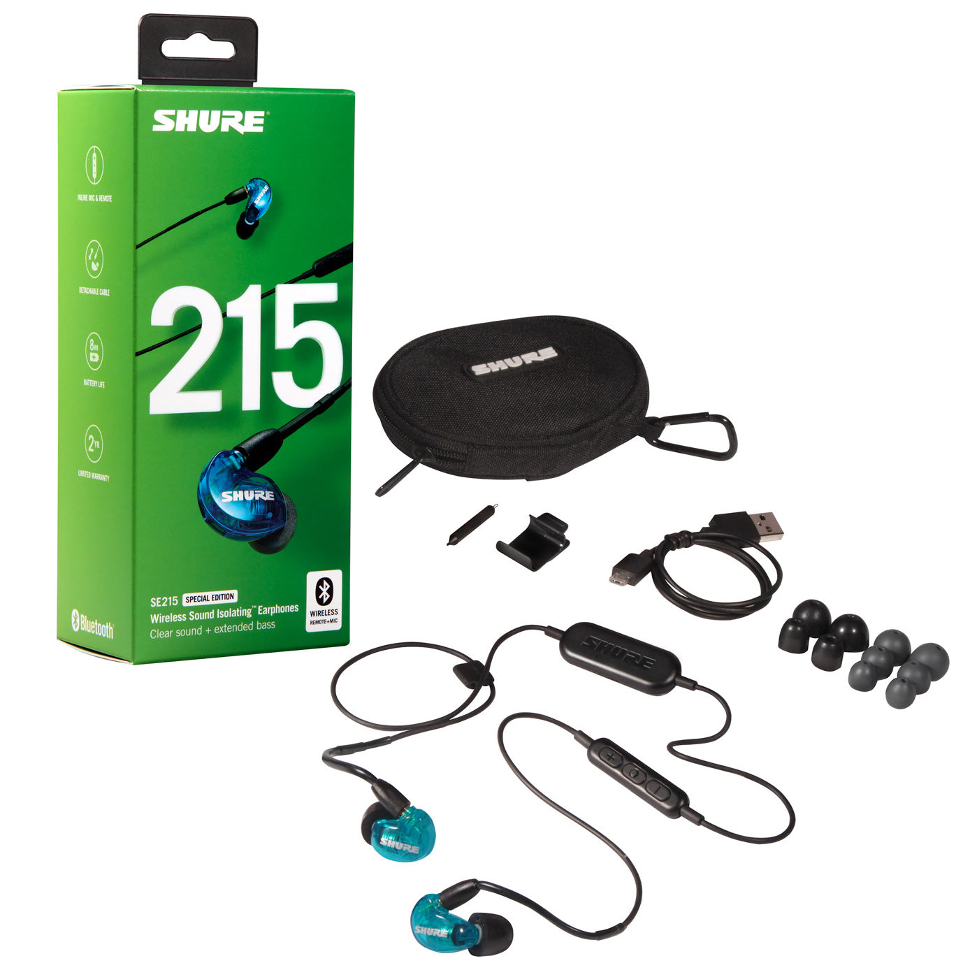 Shure SE215 Wireless Sound Isolating Earphones, Translucent Blue