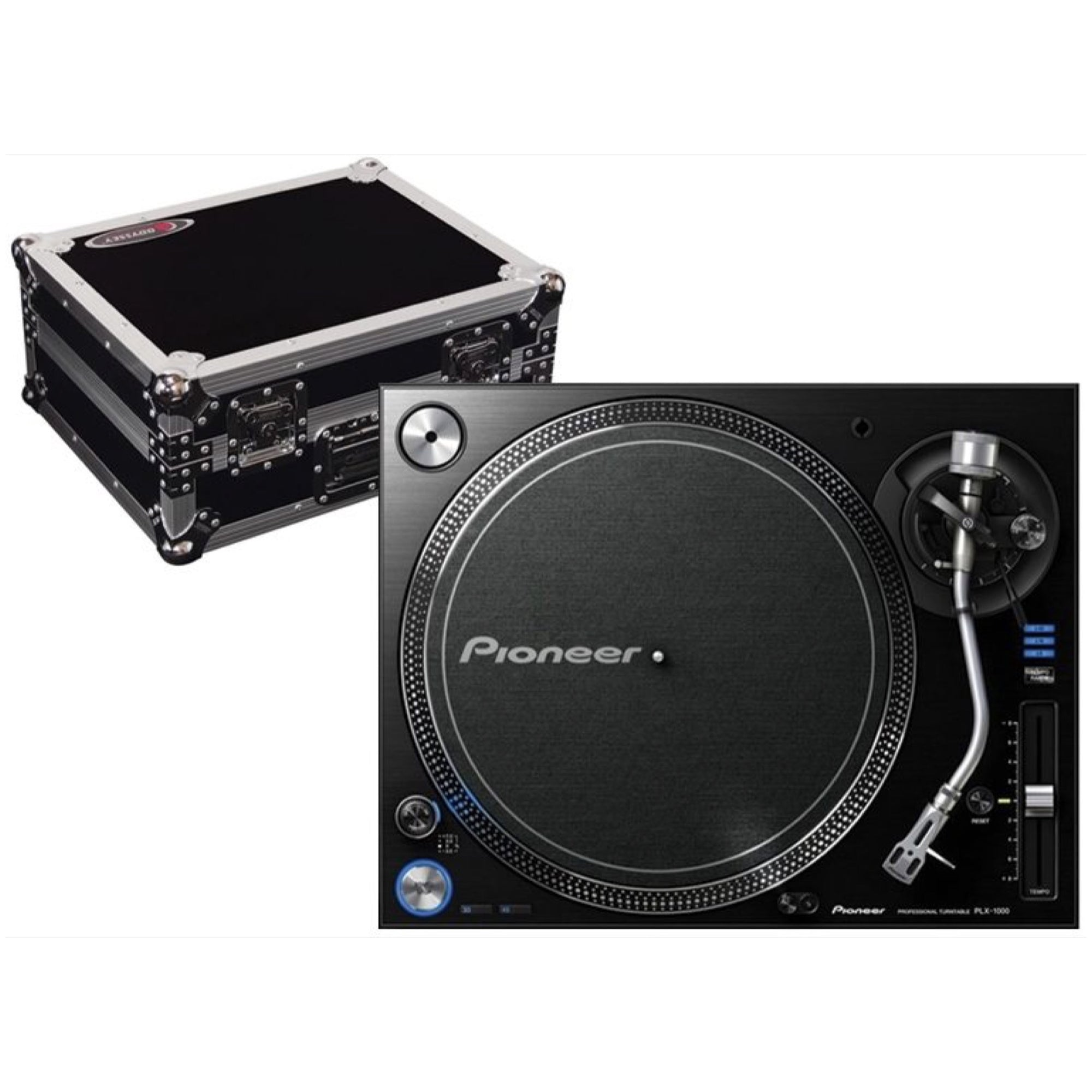 Pioneer DJ PLX-1000 Direct Drive Turntable, with Odyssey FZ1200 Case