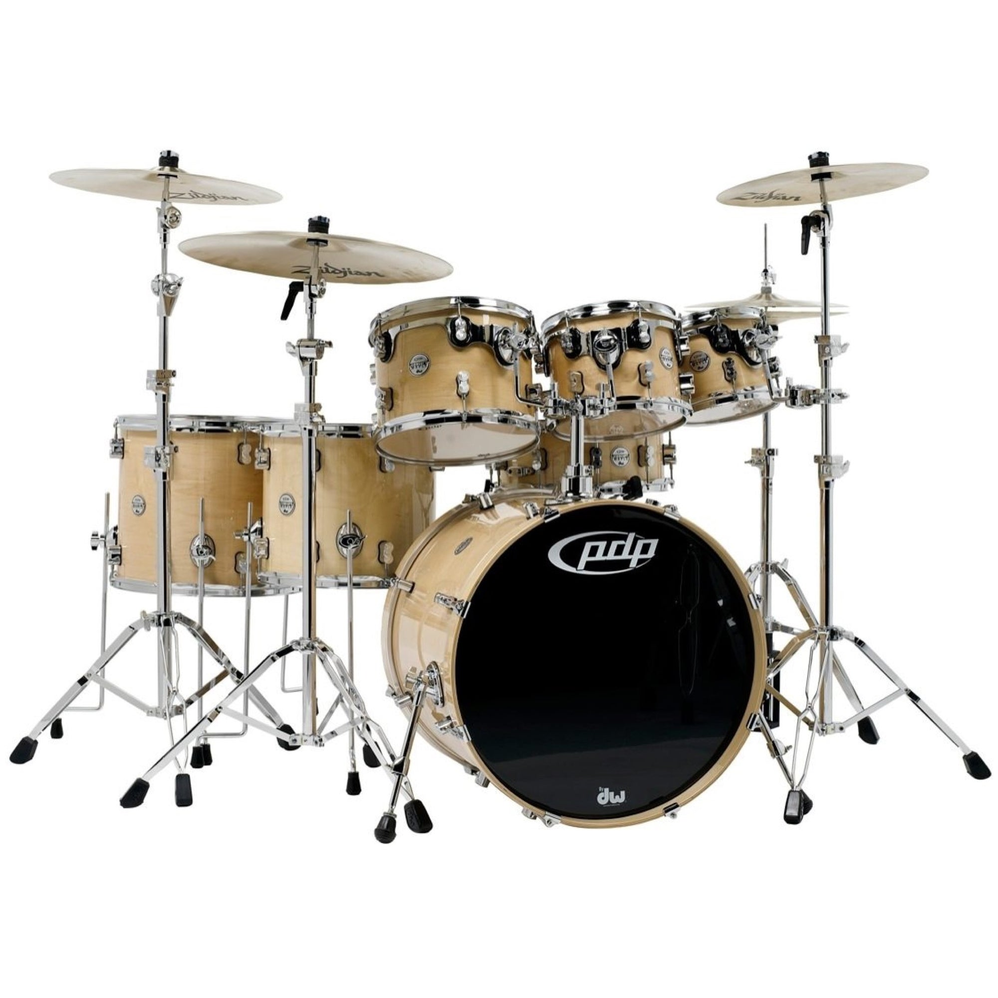 Pacific Drums Concept Maple Drum Shell Kit, 7-Piece, Natural, with Pacific Drum 800 Series Hardware