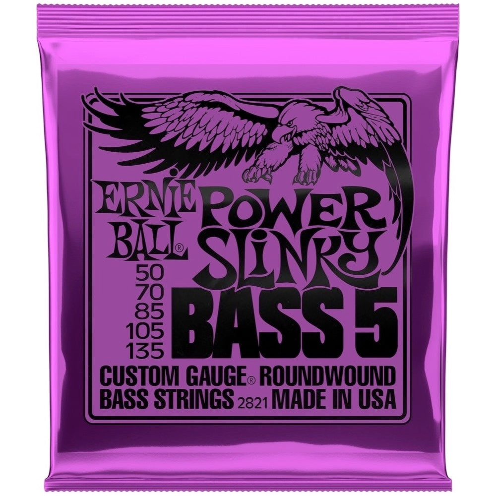 Ernie Ball Power Slinky Nickel Wound 5-String Electric Bass Strings, 2821, 50-135