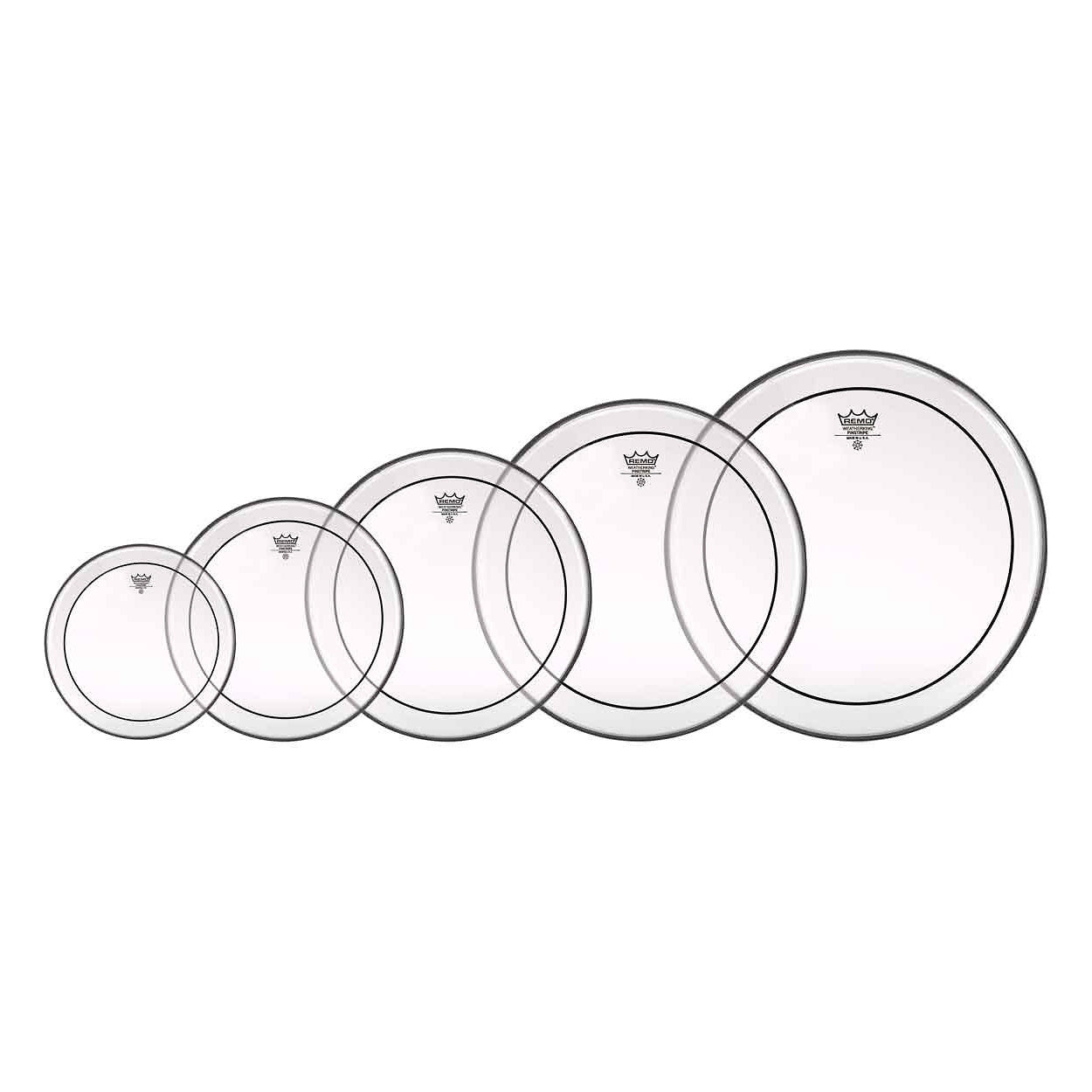 Remo Clear Pinstripe Tom Drumhead Pack, With 8, 10, 12, 14, and 16 Inch