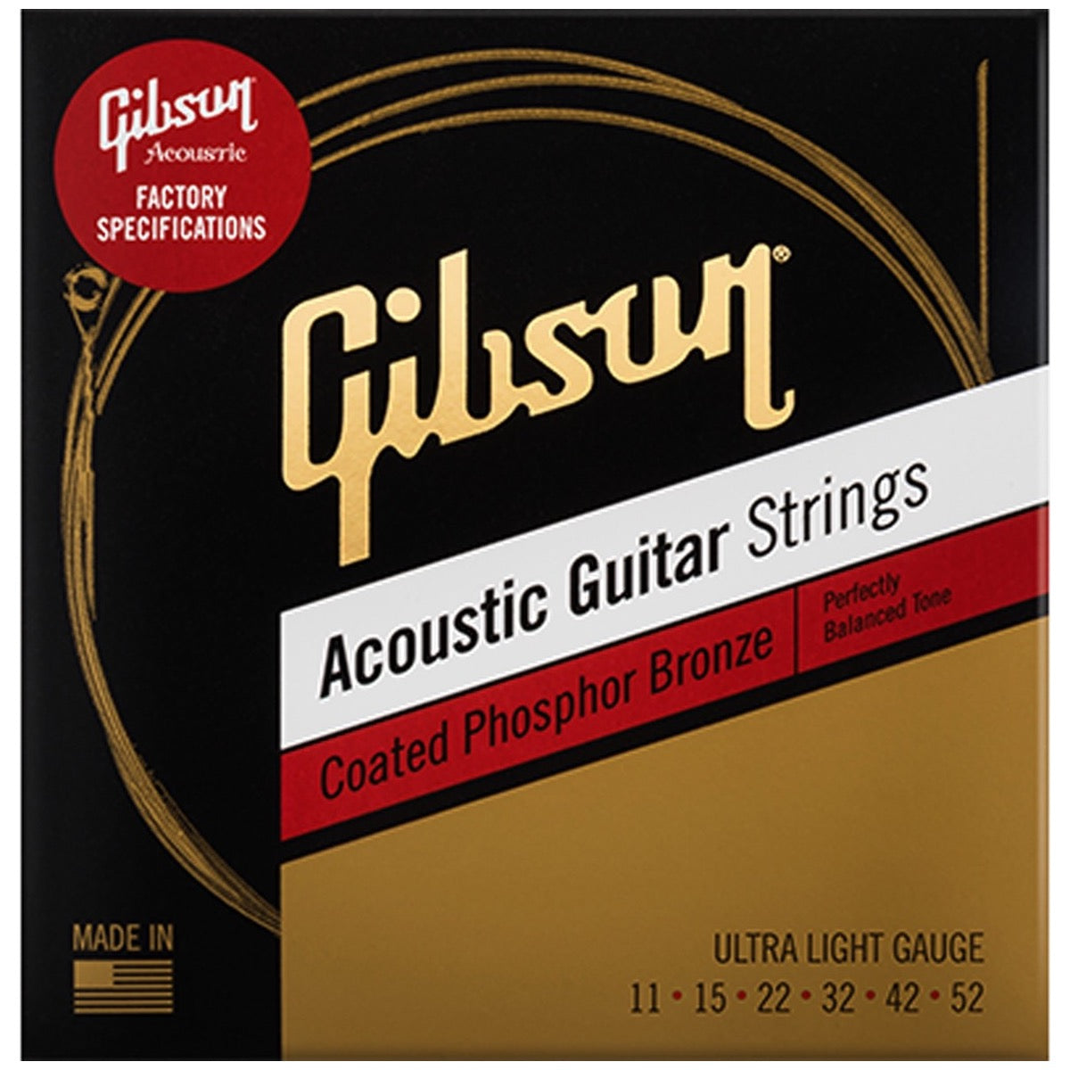 Gibson Coated Phosphor/Bronze Acoustic Guitar Strings, Ultra Light