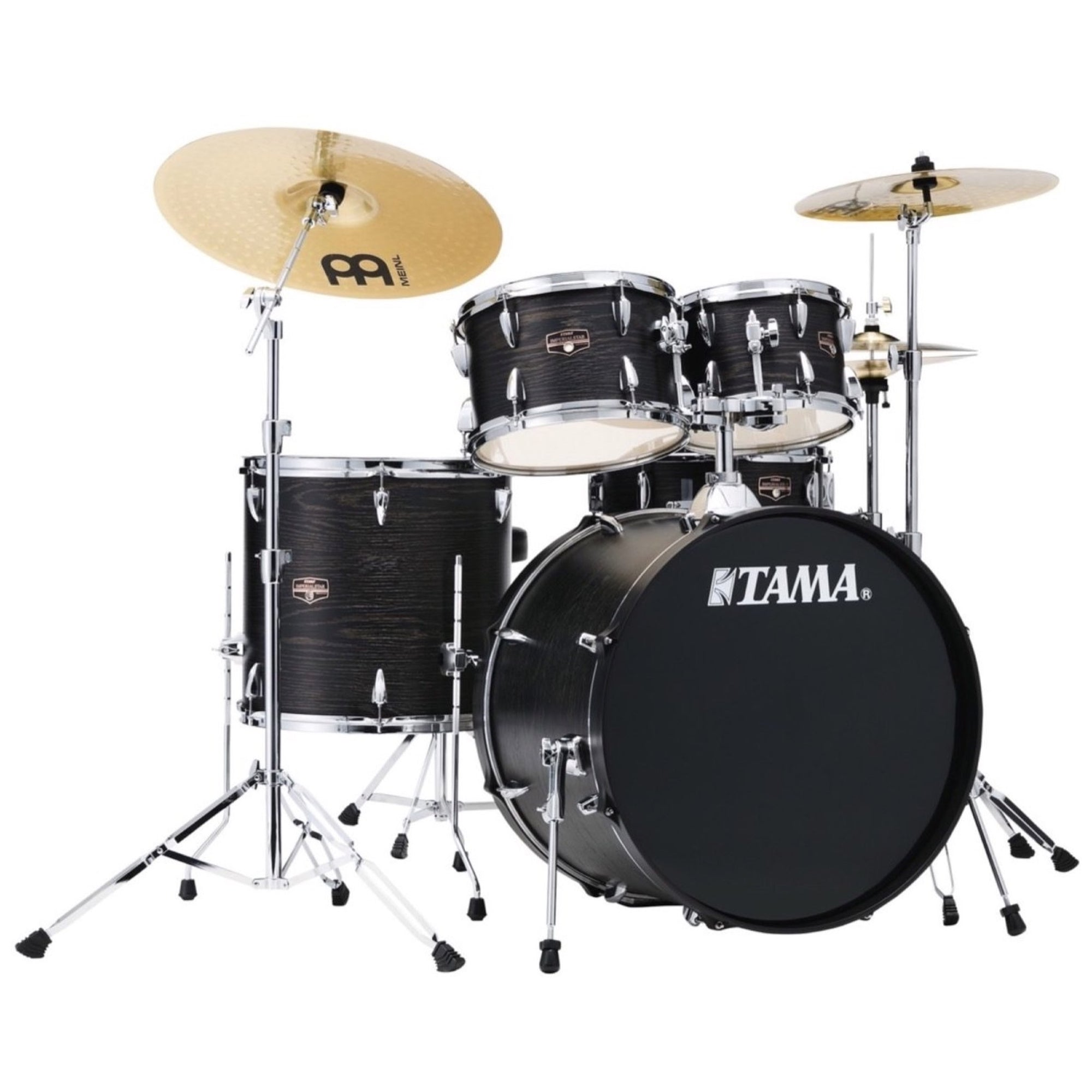 Tama IE52C Imperialstar Drum Kit, 5-Piece (with Meinl Cymbals), Black Oak