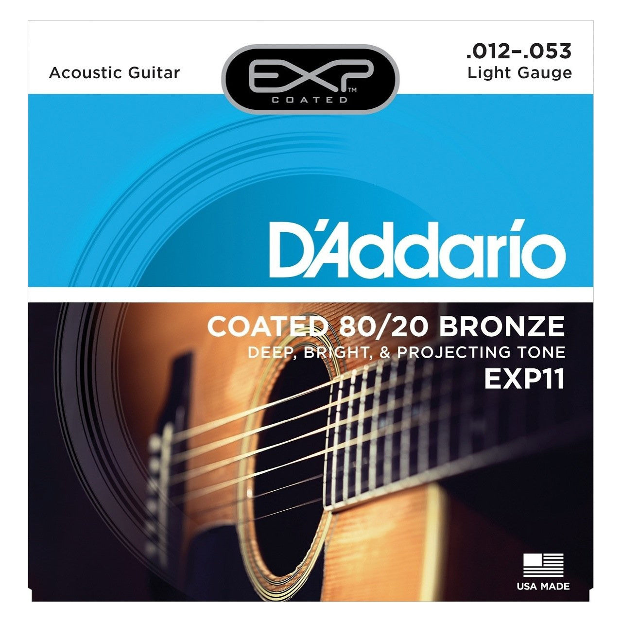 D'Addario EXP11 Coated 8020 Bronze Acoustic Strings (Light, 12-53)