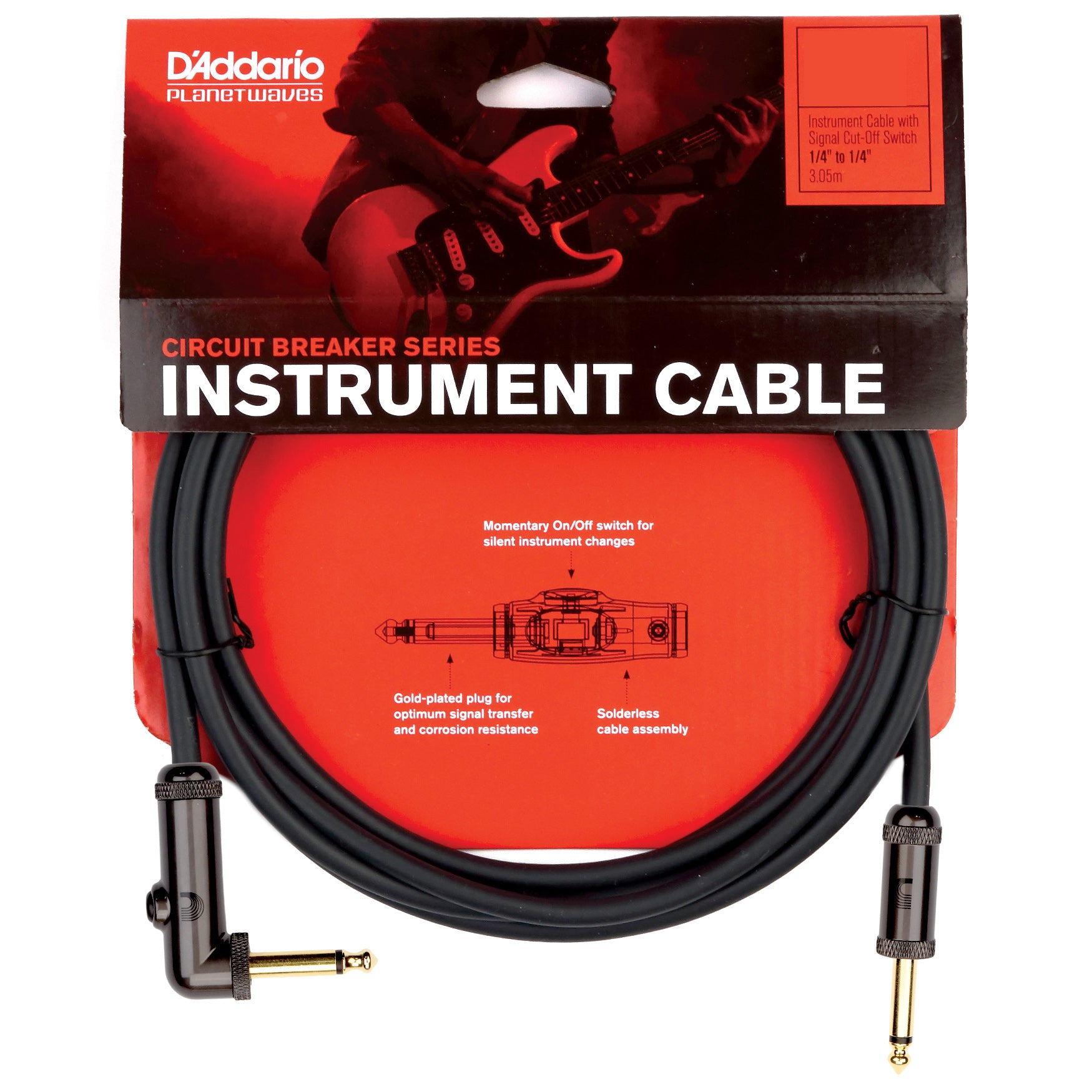 Planet Waves Circuit Breaker Instrument Cable with 1 Angled End, 20 Foot