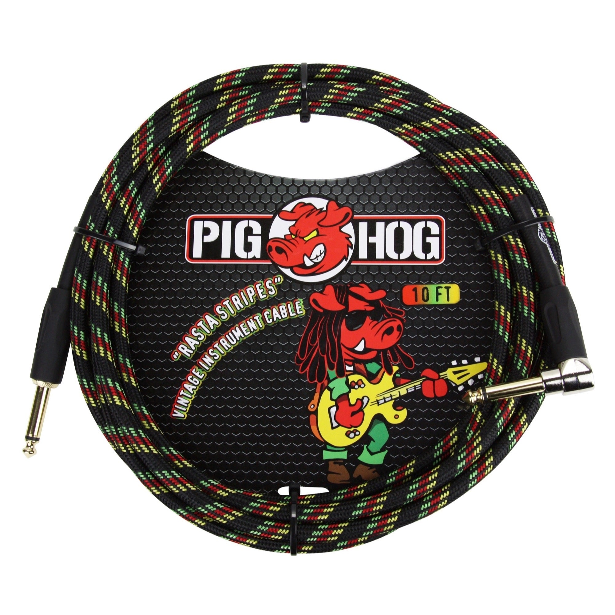 Pig Hog Color Instrument Cable, 1/4 Inch Straight to 1/4 Inch Right Angle, Rasta Stripe, 10 Foot