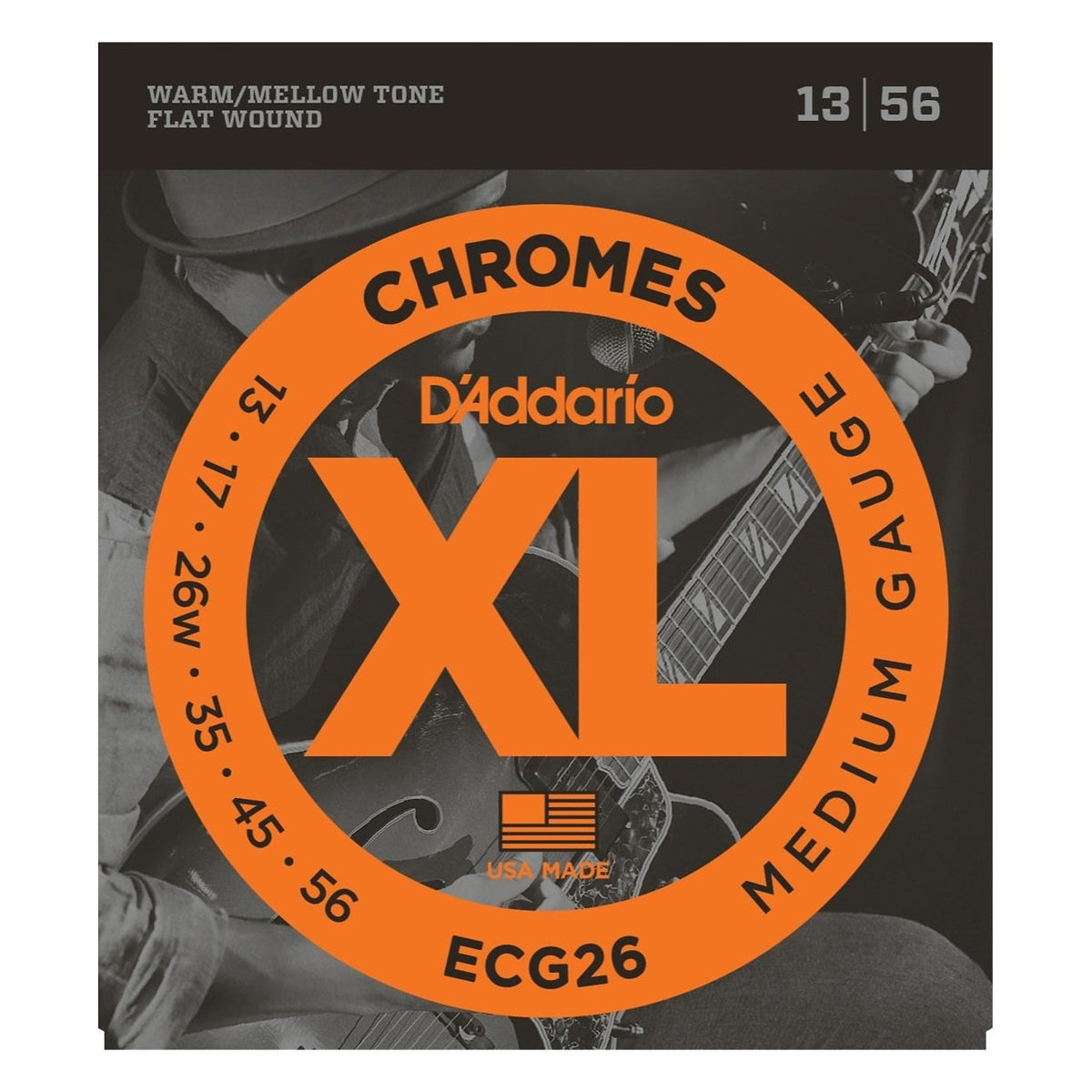 D'Addario ECG26 Chromes Flatwound Electric Guitar Strings (Medium Gauge, 13-56)