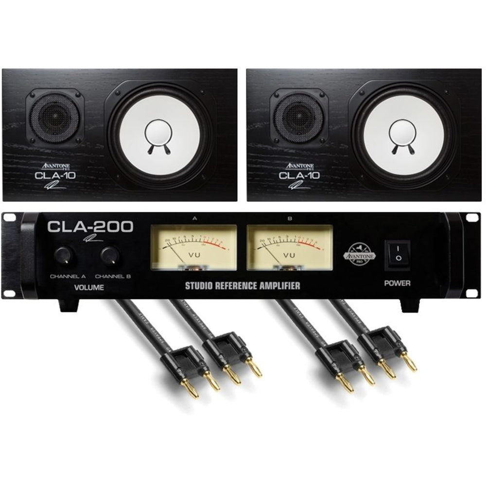 Avantone CLA10 Chris Lord-Alge Passive Studio Monitors, With CLA200 Amp and Hosa SKJ620BB Cables