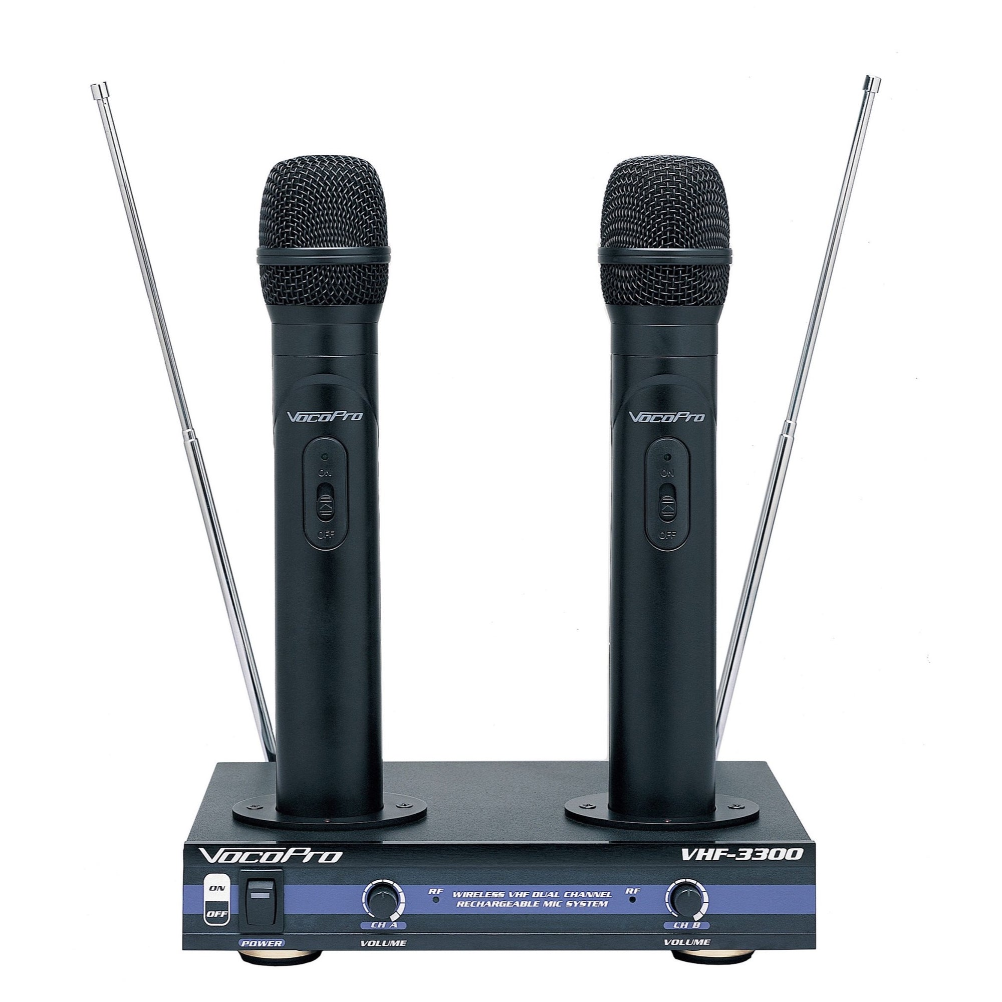 VocoPro VHF-3300 Dual Rechargeable Handheld Wireless Microphone System, 180.20 - 204.80 MHz