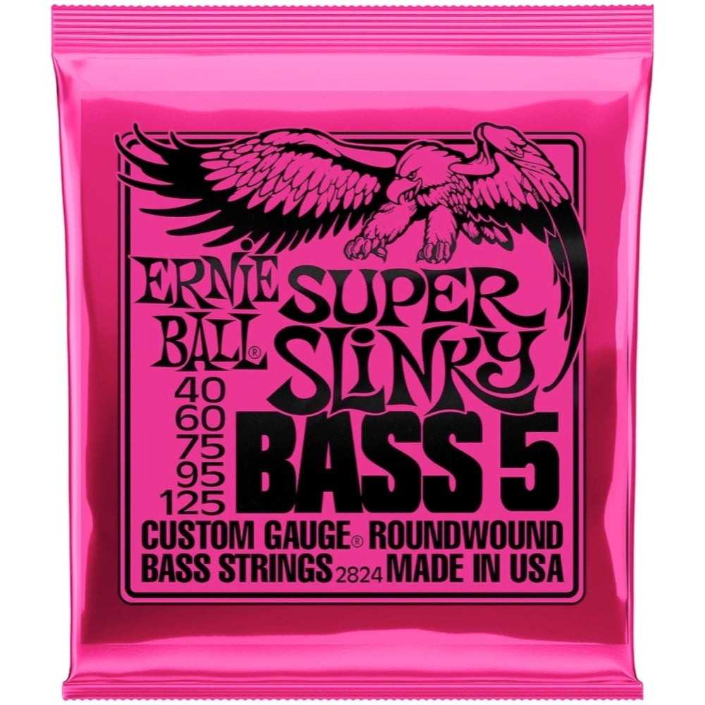 Ernie Ball Super Slinky 5-String Nickel Wound Electric Bass Strings, 2824, 40-125