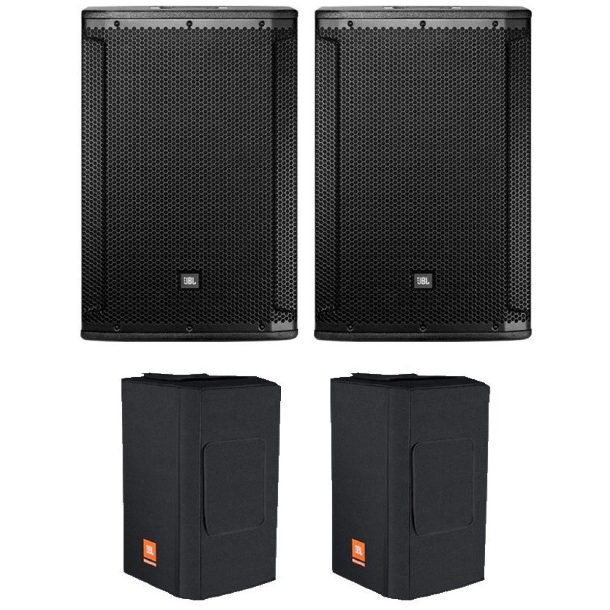 JBL SRX815P Powered Loudspeaker, Pair, with JBL SRX815PCVRDLX Padded Covers