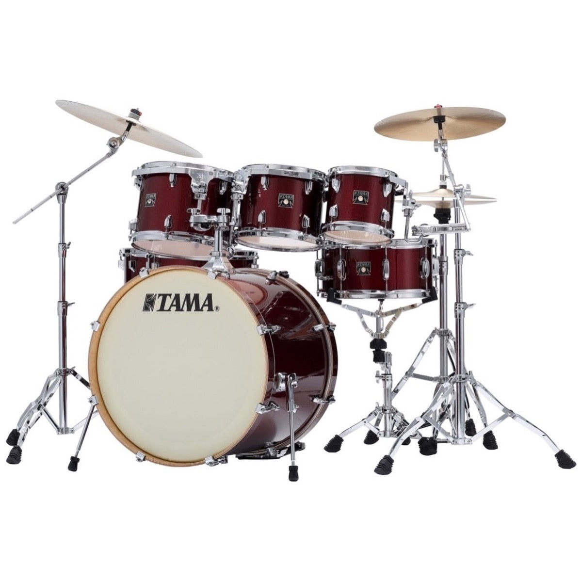 Tama CK72S Superstar Classic Drum Shell Kit, 7-Piece, Dark Red Sparkle