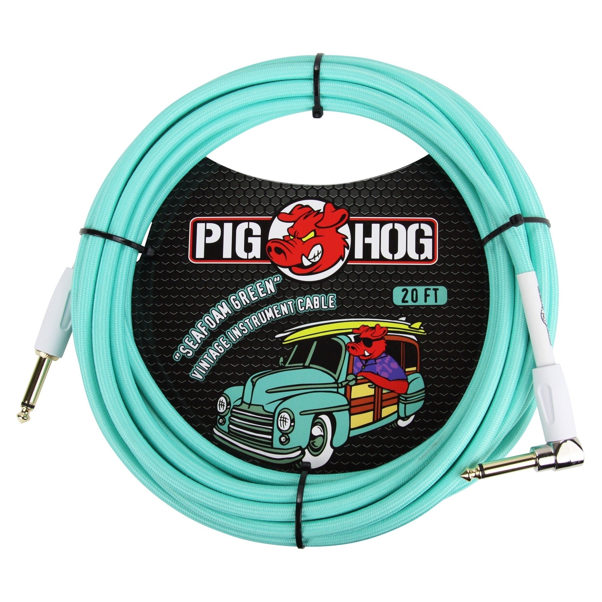 Pig Hog Color Instrument Cable, 1/4 Inch Straight to 1/4 Inch Right Angle, Sea Foam Green, 20'