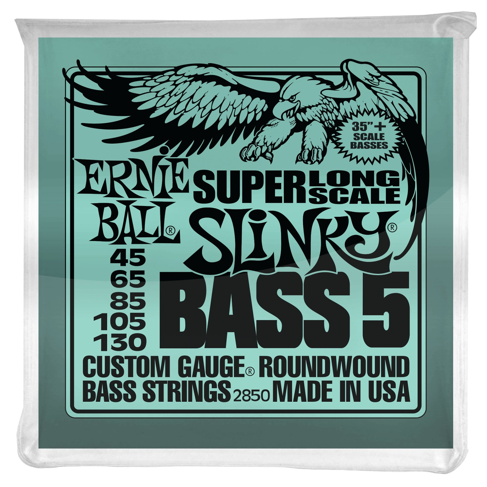 Ernie Ball Super Long Scale Slinky 5-String Nickel Wound Electric Bass Strings, 2850, 45-130
