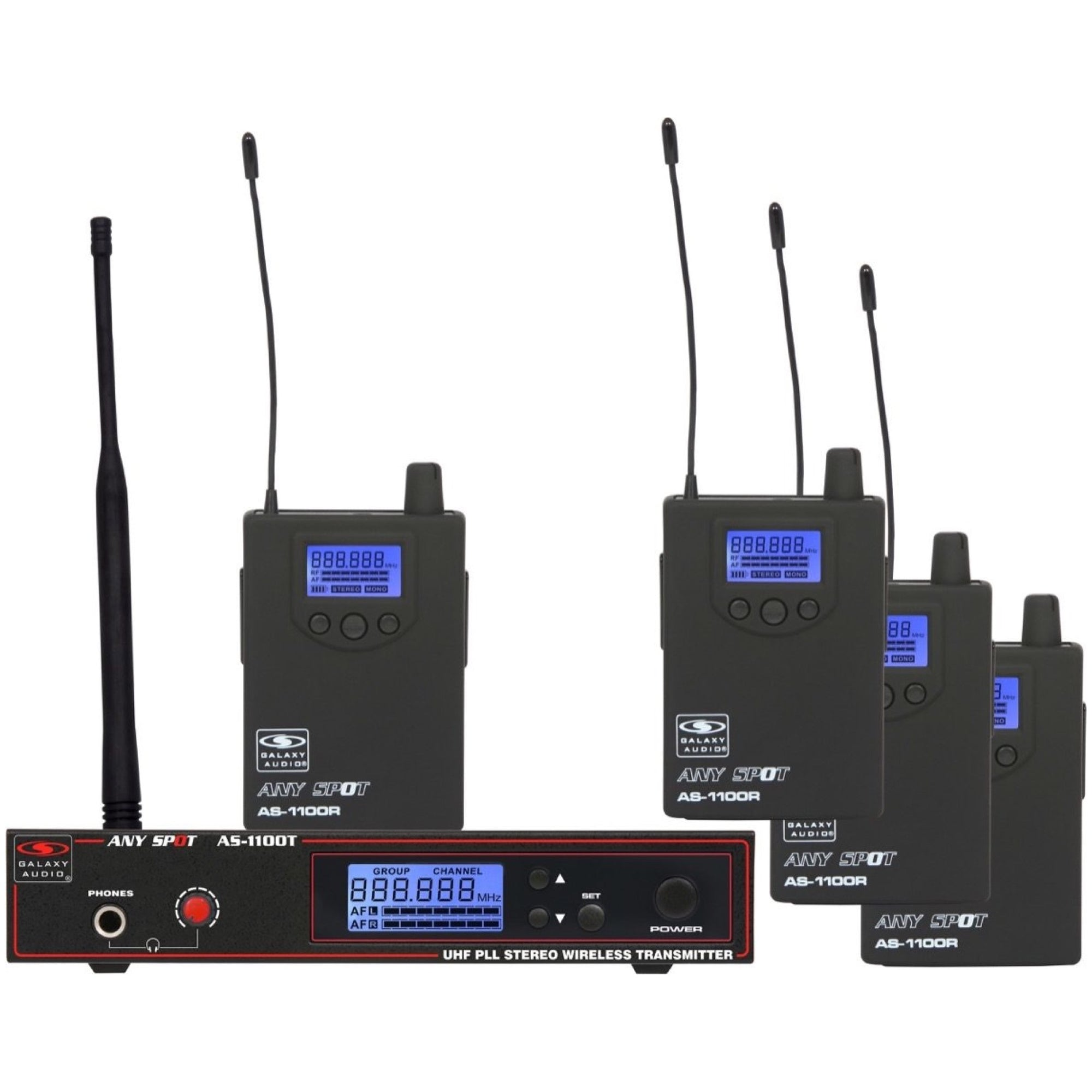 Galaxy Audio AS-1100-4 Selectable-Frequency Wireless In-Ear Monitor Band Pack, Band N (518-542 MHz)