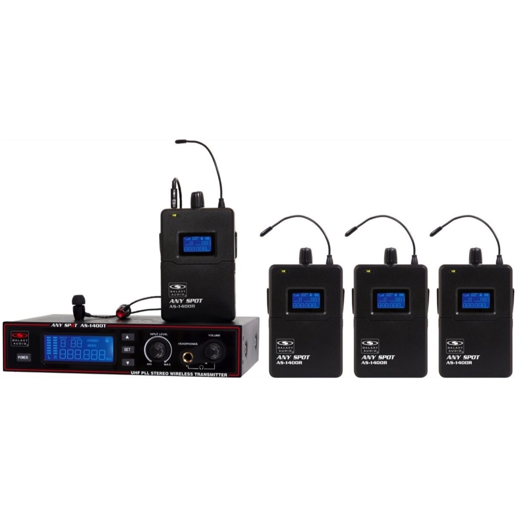 Galaxy Audio AS-1400-4 Wireless In-Ear Monitor Band Pack, Band M (516 - 558 MHz)