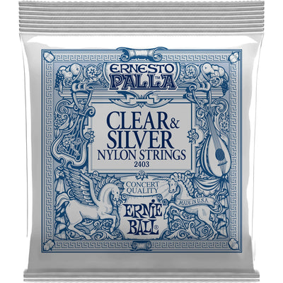 Ernie Ball Clear and Silver Ernesto Palla Nylon Acoustic Strings, Medium, 28-42