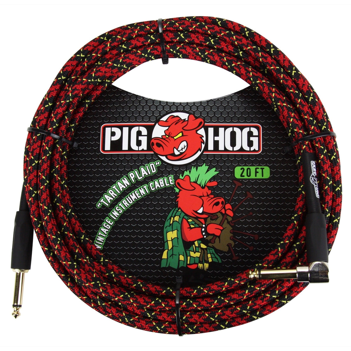 Pig Hog Color Instrument Cable, 1/4 Inch Straight to 1/4 Inch Right Angle, Tartan Plaid, 20'