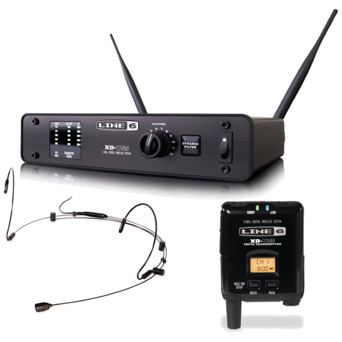 Line 6 XD-V55HS Digital Headset Wireless Microphone System, Tan Headset, 2.4 GHz