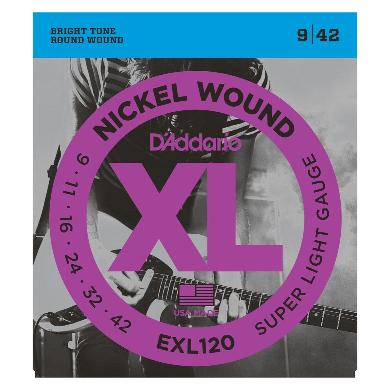 D'Addario EXL120 XL Electric Guitar Strings (Super Light, 9-42), 3-Pack
