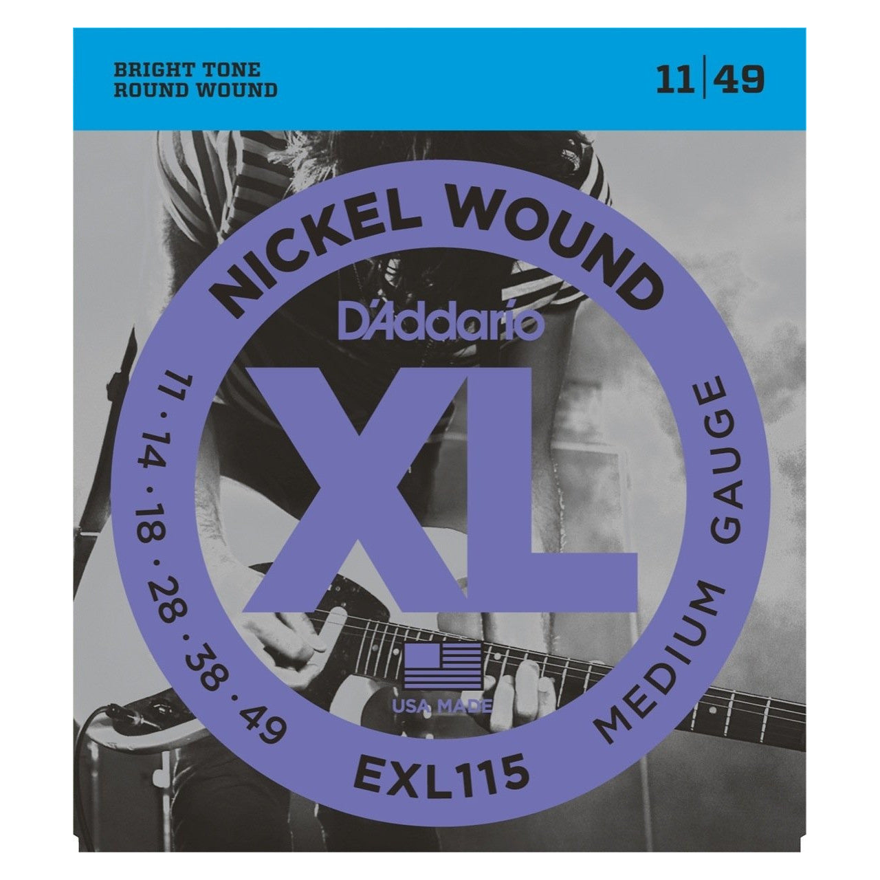 D'Addario EXL115 XL Electric Guitar Strings (Blues/Jazz Rock, 11-49), 3-Pack